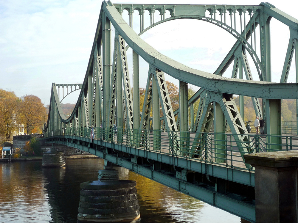 Glienicke Bridge, also called the Bridge of Spies, viewed from the Potsdam side. Photo by Manfred Brückels, Wikipedia.